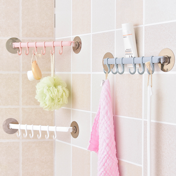 Strong Adhesive Wall Rack Suction Cup 6 Hooks Towel Bathroom Kitchen Holder Sucker Hanger Bathroom Powerful Hook Storage Rack