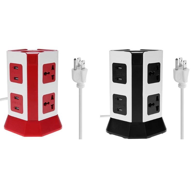 2 Layer Power Socket Universal Vertical Smart Electrical Socket Plugs 6 Outlet 4 USB Ports US Plug 3 layer smart electrical plug vertical power socket outlet 2 usb ports