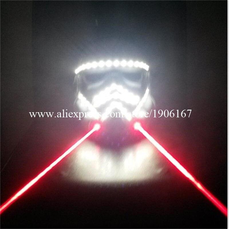 Nouveau rouge 2 Lasers lumière LED couleur blanche lumineux clignotant brillant Halloween masque pour DJ Club fête décoration de noël