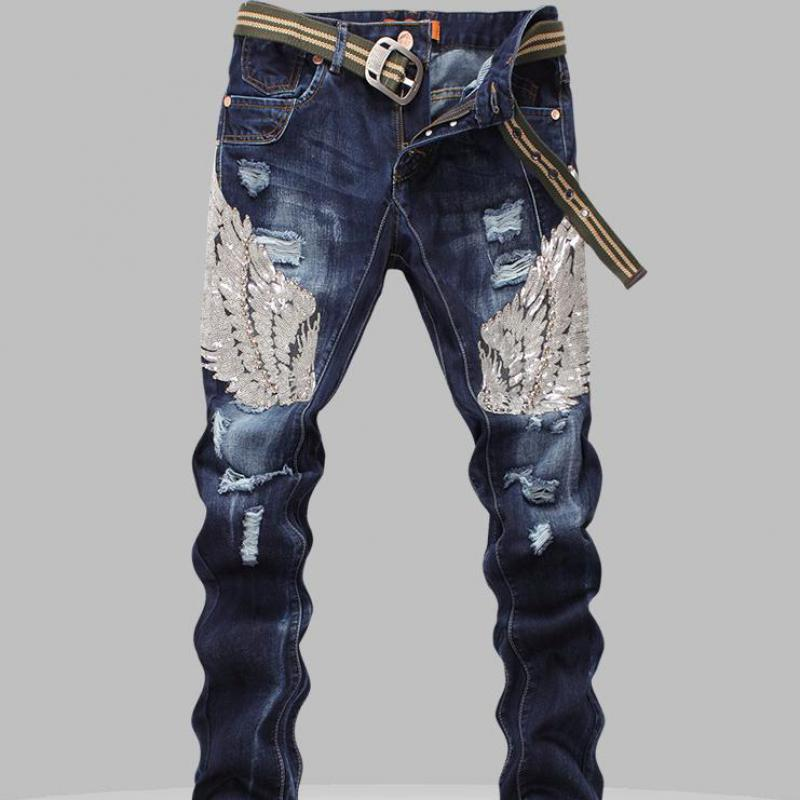 Sequin Mens Jeans Male Eagle Wings Embroidery Stitching Sequins Hole Jeans Slim Pants Ribbed Mens Robin Jeans