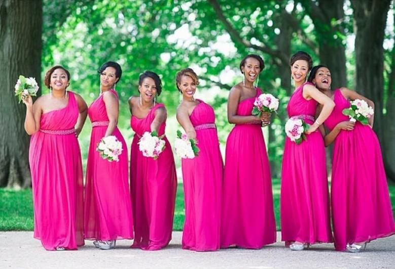 ae316e5070a Hot Sale Hot Pink Bridesmaid Dresses 2015 Long Chiffon Dress One Shoulder  Beaded Belt