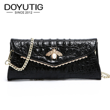 DOYUTIG Women Luxury Evening Clutch Bags Black Honeybee Charm Female Genuine Leather Shoulder Bag Crossbody Purse & Handbag A212