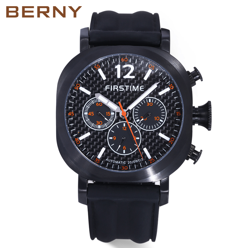 Men Automatic Mechanical Watch Luminous Black Sport Water Resistant Diver Japan Movement Mergulho Homem Relogio Mecanico fashionable water resistant glow in dark wrist watch black white 1 x lr626