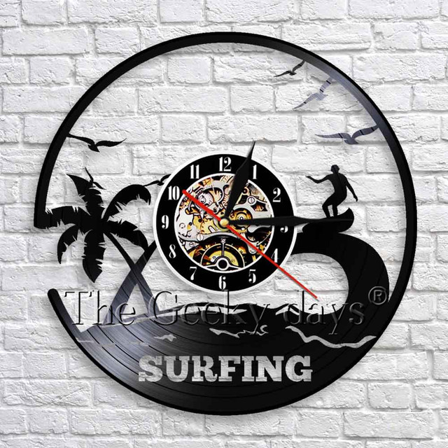 1piece Surfing Art Vinyl Record Wall Clock Surf Decor Windsurfing Board Water Sport Sea