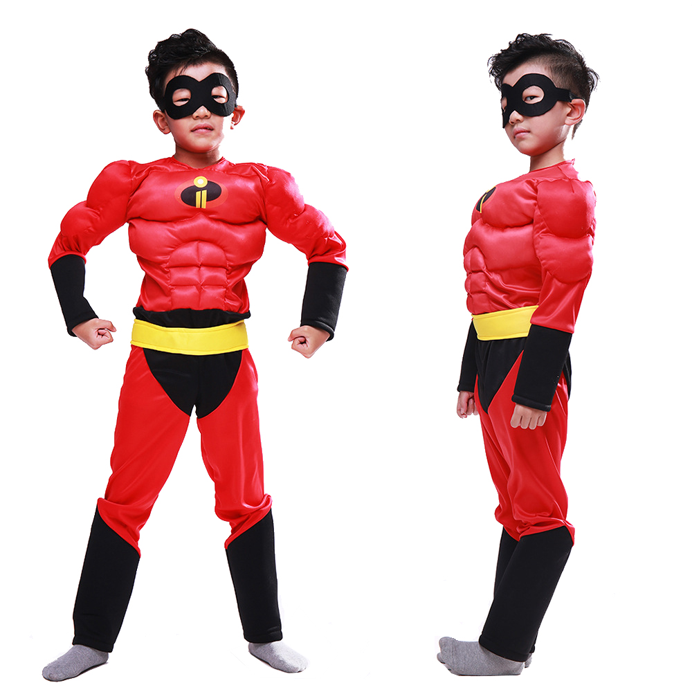 The Incredibles Muscle Cosplay Costume For Kids Boys Red Jumpsuits With Mask Halloween Carnival Role Play Party Cosplay