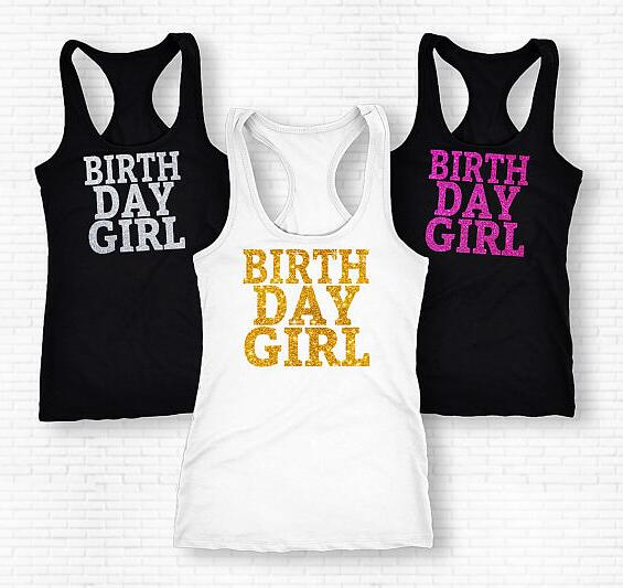 4d884886 customize glitter birthday girl womens Tank tops tees bridal shower t Shirts  party favors GIFTS photo prop