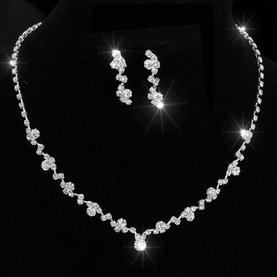 Silver Tone Crystal Tennis Choker Necklace Set Earrings bridal