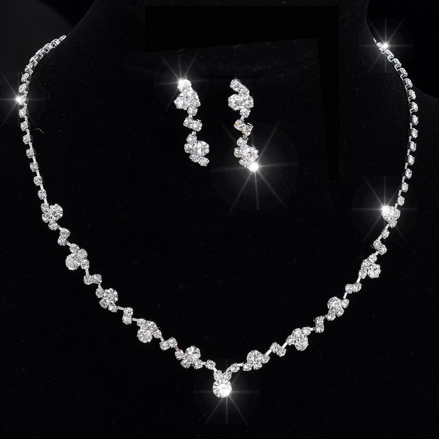 Silver Tone Crystal Tennis jewelry sets Choker Necklace Jewelry Set