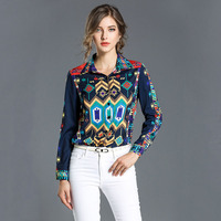 New Retro Style Flower Printing High Quality Turn Down Collar Women Blouses With Button Long Sleeve