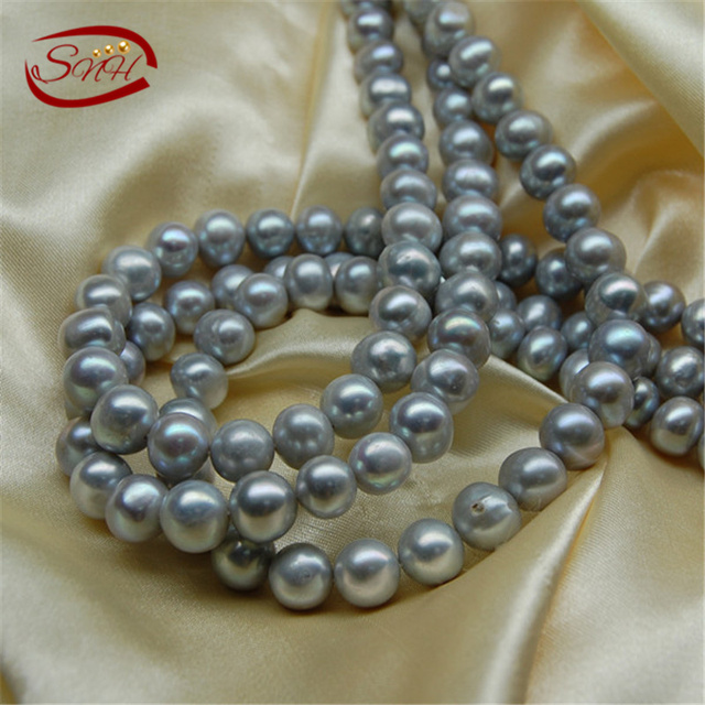 Snh 5 fios/pacote agradável cor cinza para fazer colar e pulseira de pérolas de água doce vertente atacado