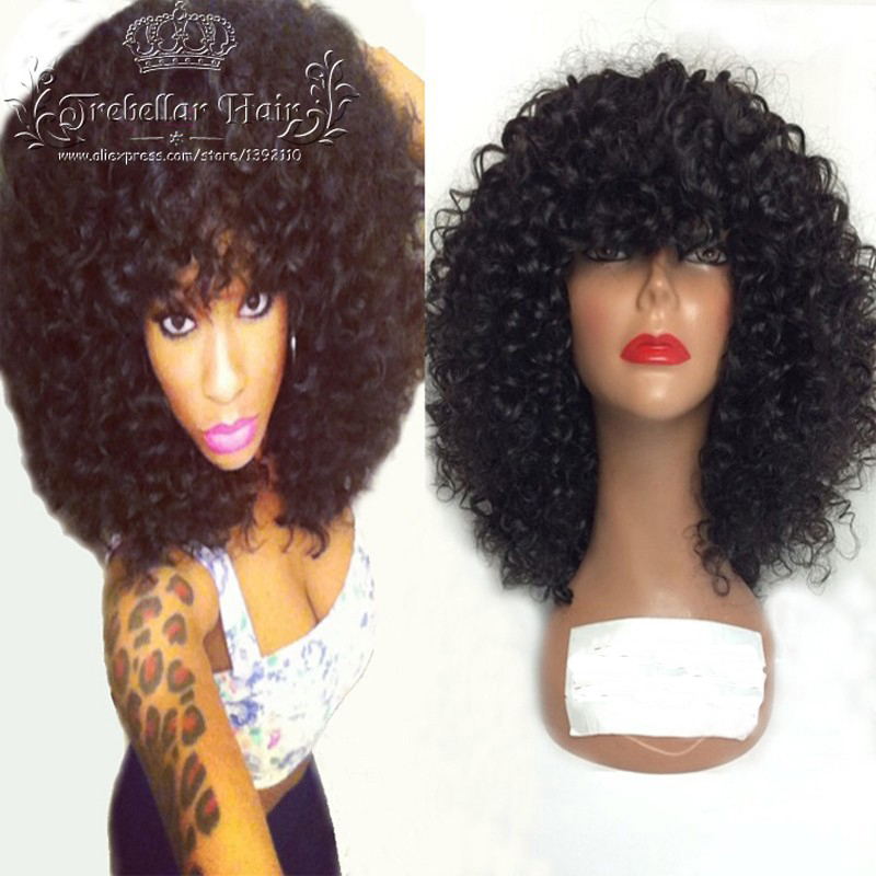 Full Lace Wigs With Bangs Full Fringe Afro Kinky Curly