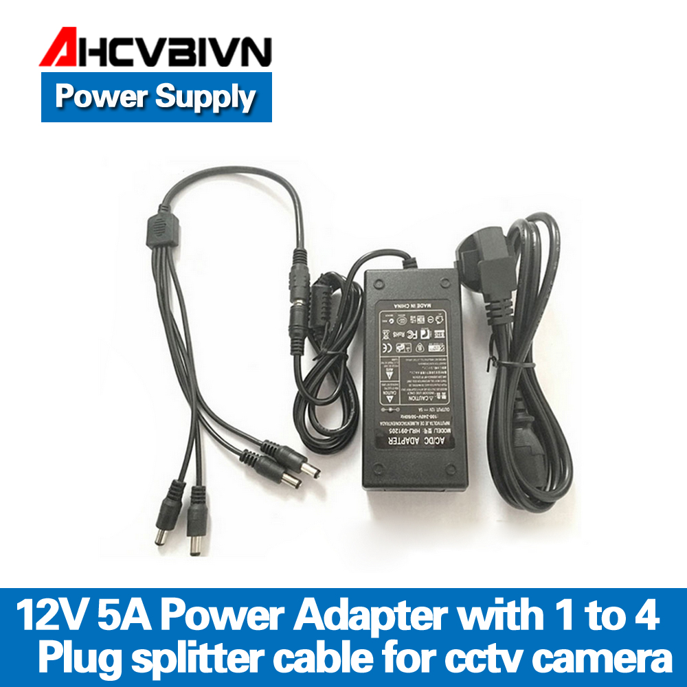 AHCVBIVN 12V 5A 1to 4 Port plug splitter cable CCTV Camera AC Adapter Power Supply Box For the CCTV Security Camera