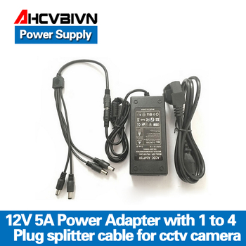 AHCVBIVN 12V 5A 1to 4 Port stecker splitter kabel CCTV Kamera AC Adapter Power Supply Box Für die CCTV sicherheit Kamera