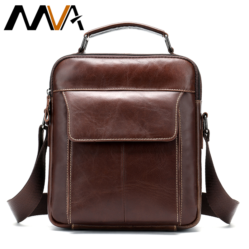 MVA Messenger Bag Men Leather Shoulder Bags Small Handbags Male Crossbody Bag Men Genuine Leather Bags Male Fashion Man Flap 369