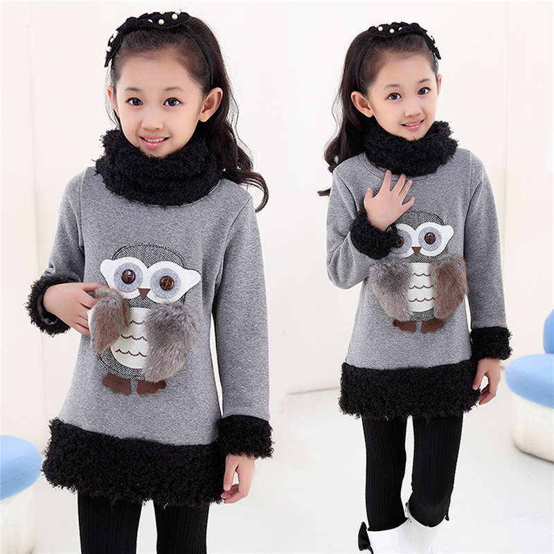 2017 Fashion Styles Autumn Winter Girls Plus Velvet Shirts Children Warm Owl T-shirt with Collar Teenage Girls Clothes La Freds latest styles autumn