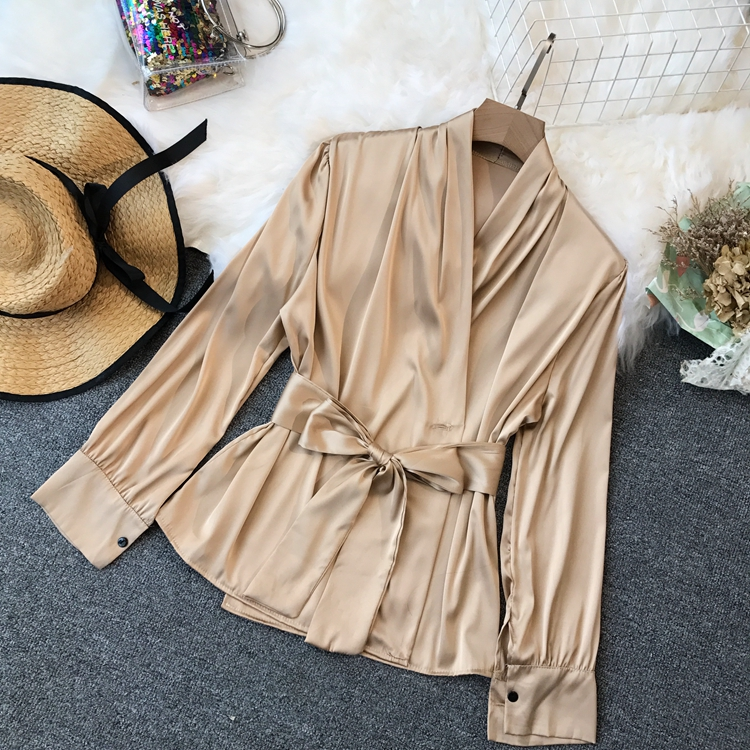 New Urban Ladies Poplin V-neck Waistband   Blouse   Female Satins Sashes Drawstring Lantern Sleeves   Shirt   Ladies Fashion Top Suits