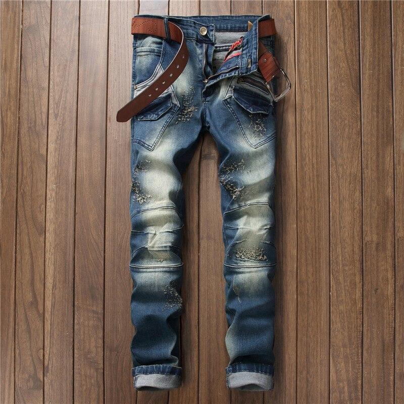 Stylish elastic slim fit skinny jeans men distressed patchwork zipper scratched patch pocket denim pants blue punk cool boys