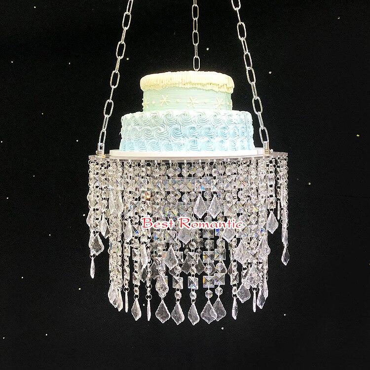 Support de gâteau accrochant clair acrylique en cristal pour la décoration de partie de fournitures d'événement de partie