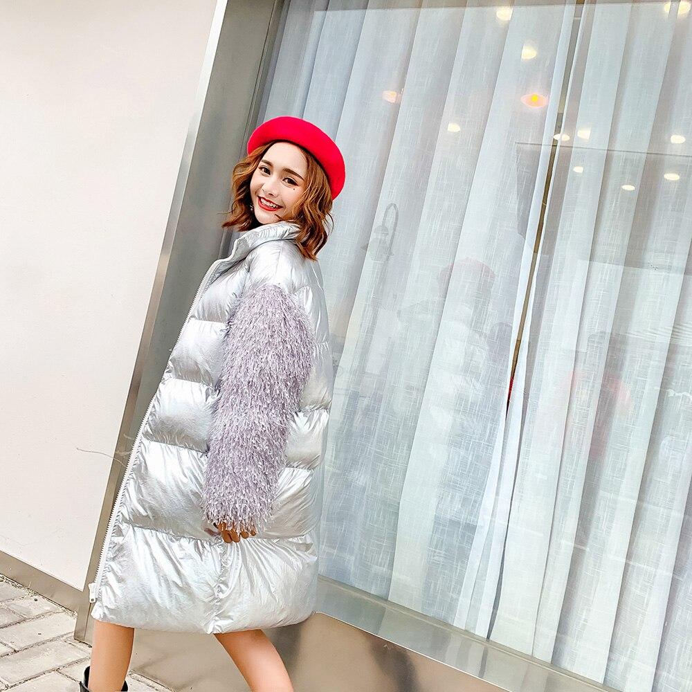 2018 Veste Parkas Lâche Femmes Manches Mumuzi Argent Métal Chic Fourrure Nouveau Long Rembourré Avec Coton Hiver Manteau Style De 1qxZwA