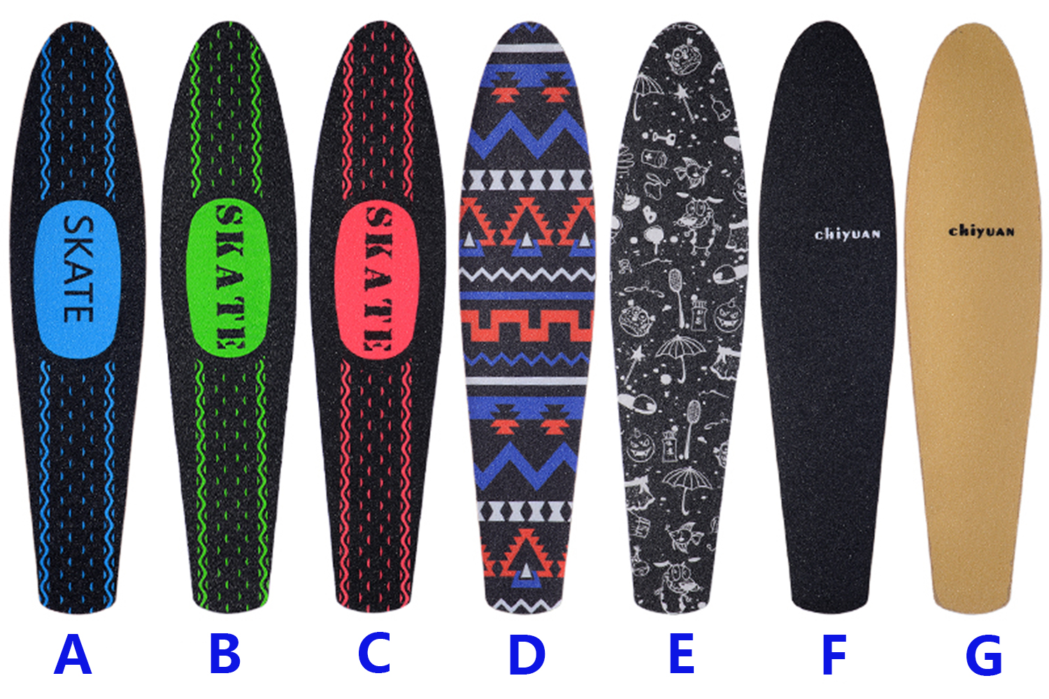 7 Colors 22 Inch 55cm Penny Board Sticker Sandpaper Waterproof Abrasive Wear Resisting Replace Banana Single Rocker