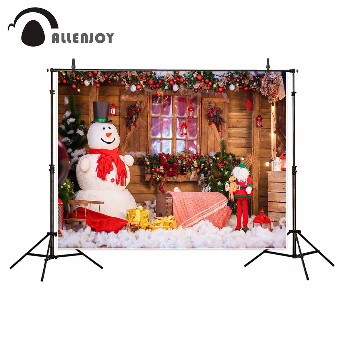Allenjoy Christmas background snowman Wooden window blanket interior fruit photography backdrops photocall photo background