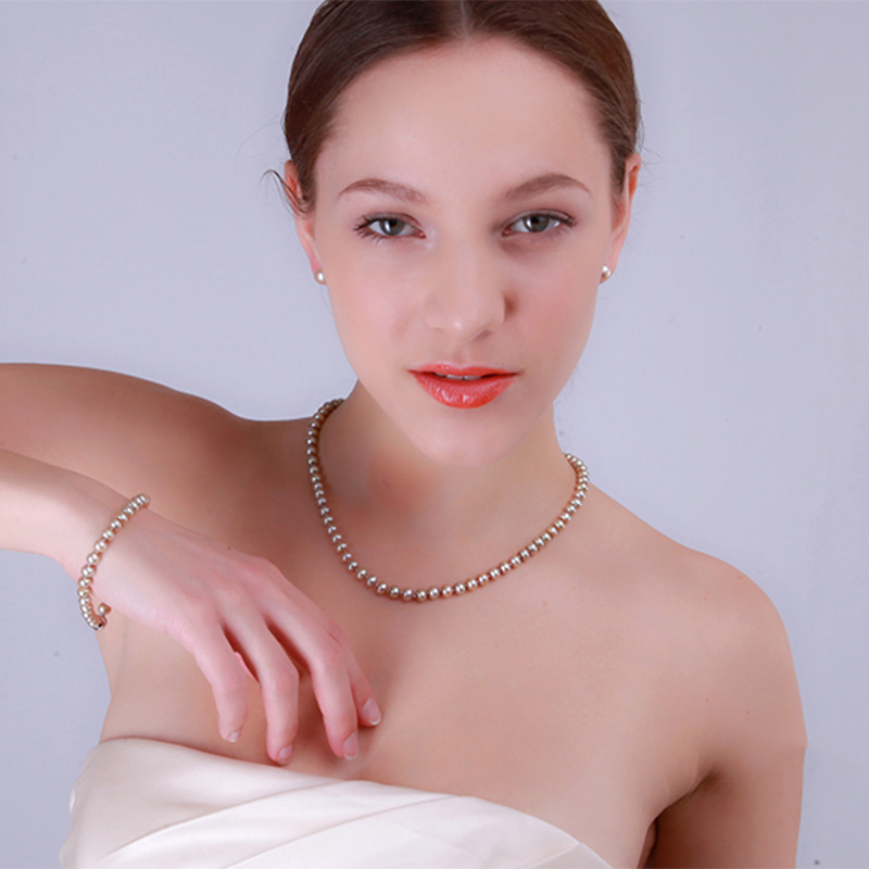 JYX Pearl Necklace Set Jewelry Sets - 6-7mm AA Champagne Flat Round Freshwater Pearl Necklace, Bracelet and Stud Earrings Set jyx pearl wedding jewelry set 7 7 5mm white flat round freshwater pearl necklace