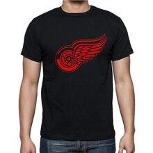 Новый Детройт Ред Уингз Футболки хлопок Большой и Высокий Логотип Мода Крылья с коротким Рукавом хип-хоп футболка O Шеи T Рубашки мужчин Camisa XS-XXL