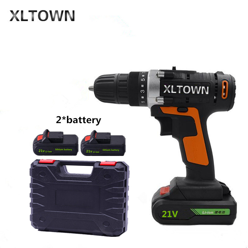 Xltown 21v Cordless Two Speed Electric Drill with 2 battery and a box Lithium Battery Rechargeable Electric Screwdriver xltown new 21v rechargeable lithium battery electric screwdriver with 2 battery high quality electric drill tools free shipping