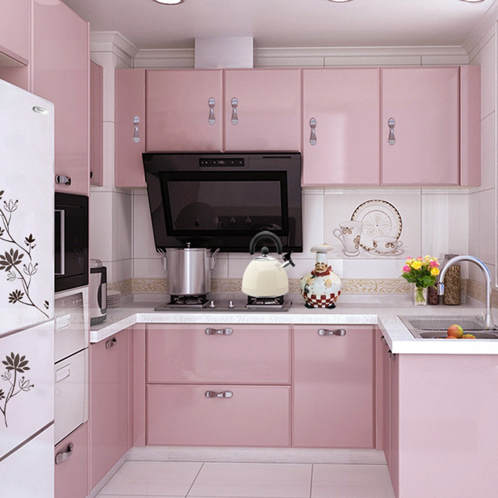 Buy yazi gloss pink vinyl sticker self adhesive removable pvc waterproof anti for 50cm kitchen cabinets