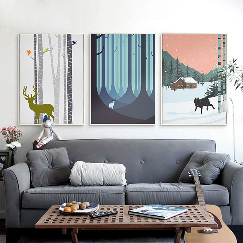 Swell Us 2 94 46 Off Nordic Decoration Home Art Poster Winter Forest Elk Snow Hut Canvas Painting Room Animals Dog Deer Wall Pictures For Living Room In Cjindustries Chair Design For Home Cjindustriesco