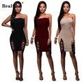 RealShe Элегантный Рукавов Tight Dress Женщины Bodycon Короткие Dress Бургундия Slash Шеи Кружева Топ Комбо Dress
