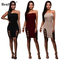 RealShe Elegant Sleeveless Tight Dress Women Bodycon Short Dress Burgundy Slash Neck Lace Up Top Combo Dress