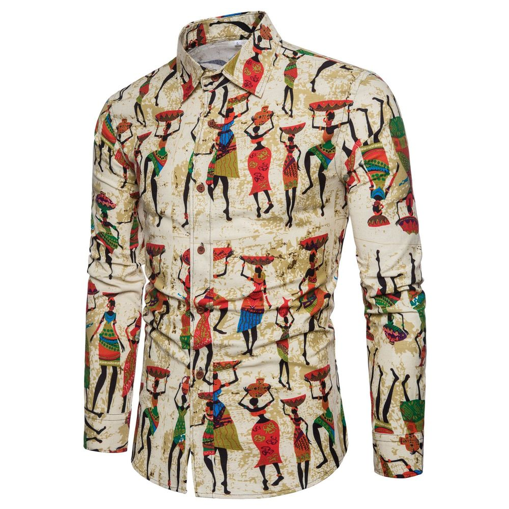 2019 Mens Linen Floral Color Print Hawaiian Shirts Fashion Plus Size M-5XL National Wind Long-sleeved Male Social Shirts Clothes