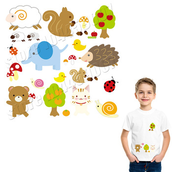 Cartoon Patches Heat Transfer Vinyl Paper DIY Iron On Embroidery A-Level Washable Parches Kawaii Easy Print Healthy Stickers image