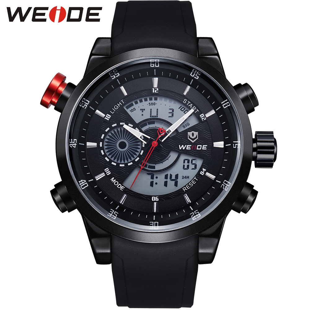 WEIDE Men Dual Time Zone Watches Analog Digital Display 3ATM Waterproof Hardlex Surface Black PU Wrist Strap Sport Item For Mens skmei 1049 50m waterproof solar dual movement dual time zone men s sport watch black blue