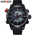 WEIDE Men Dual Time Zone Watches Analog Digital Display 3ATM Waterproof Hardlex Surface Black PU Wrist Strap Sport Item For Mens