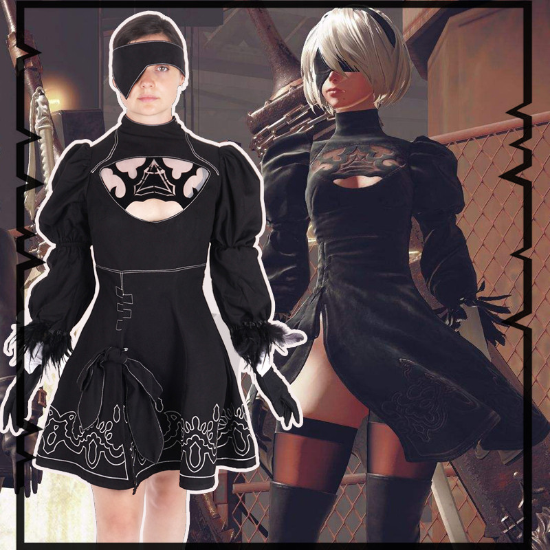 Nier Automata Yorha 2B Cosplay Suit Anime Women Outfit Disguise Costume Set Fancy Halloween Girls Party Black Dress euro size