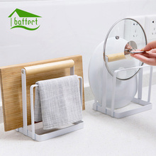 Wooden Iron Chopping Board Holder Pot Lid Stand Cutting Board Shelf Dish Rack Tableware Holder Multifunctional Kitchen Tools