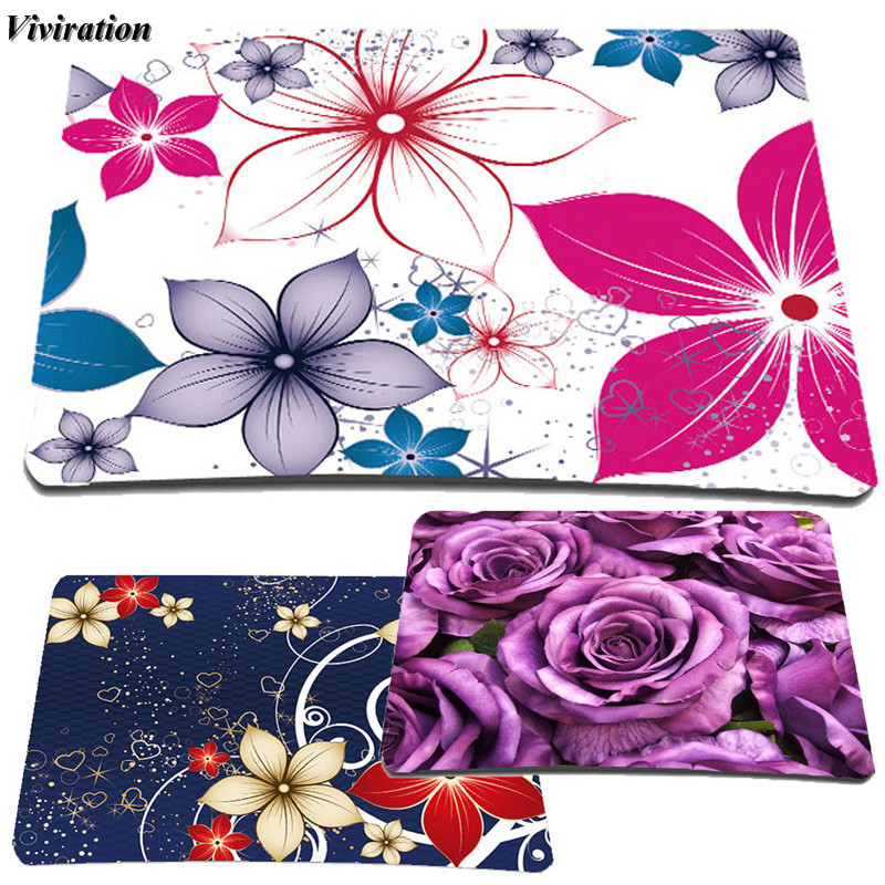 2018 Hot Sale Women Office Notebook Computer Mouse Pad Mat Viviration Floral Print Girls Gaming Mouse Pad Mat Brand New Mousepad