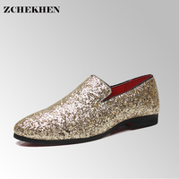 Europe Bling Flat Leather Shoes Rhinestone Fashion Mens Loafer Dress Shoes Men Casual Diamond Pointed Toe