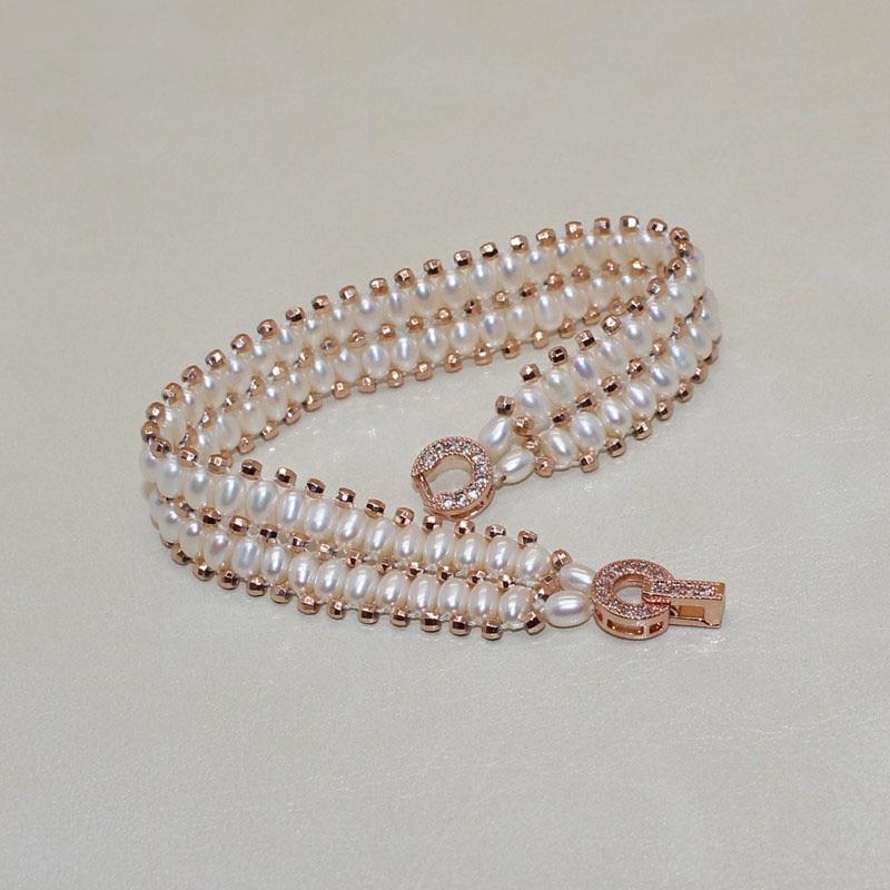 Luksus zirkon Sterling sølv Dobbelt lag ægte Naturperle armbånd - Smykker - Foto 5
