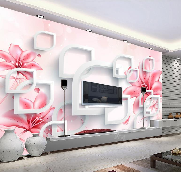3d stereoscopic tv wall murals living room sofa background wallpaper natural landscape lily pink for Flower wallpaper for living room