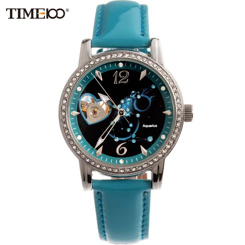 TIME100 Ladies Classic 12 constellation Aquarius Automatic Mechanical Self-wind Lather Band Skeleton Wrist Watch For Women k colouring women ladies automatic self wind watch hollow skeleton mechanical wristwatch for gift box