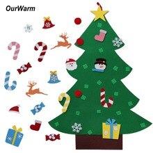 Теплая фетровая Рождественская елка с украшениями, новогодние игрушки для малышей, сделай сам, искусственные елки, рождественские украшения для дома
