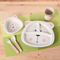 5pcs/set carton animal children dinnerware kid's Bamboo fiber Baby bear Dishes Tableware Set Baby Feeding Set