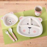 5pcs/set carton animal children dinnerware kid's Bamboo fiber Baby bear Dishes Tableware Set Baby Feeding Set