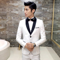 2016 Slim white formal wedding dress the groom married suits fashion suit piece set