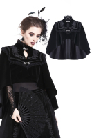 Darkinlove Women Gothic Lolita Loack Cape High Neck Velour Hooded Steampunk Retro Cape Evening Party Women Cloak