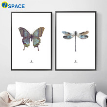 7 Space Butterfly Dragonfly Canvas Painting Nordic Poster Wall Art Posters And Prints Pictures