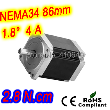 FREE SHIPPING   stepper motor 34HS27-1404S  L 68 mm  Nema34  with 1.8 deg  4 A  2.8 N.cm and 4  wire